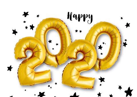 Kerstkaart ballonnen xmas 2020 goud 2