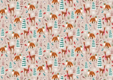 Kerstkaart Bos dieren foto collage 2