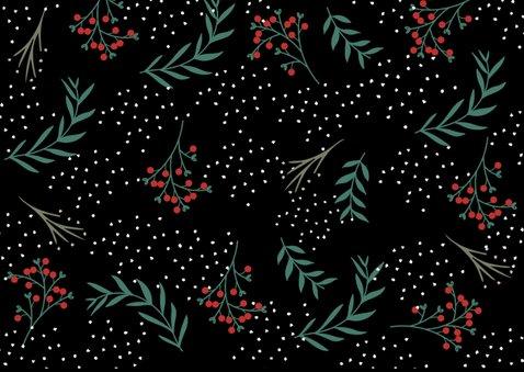 Kerstkaart botanisch met rood vlak 2