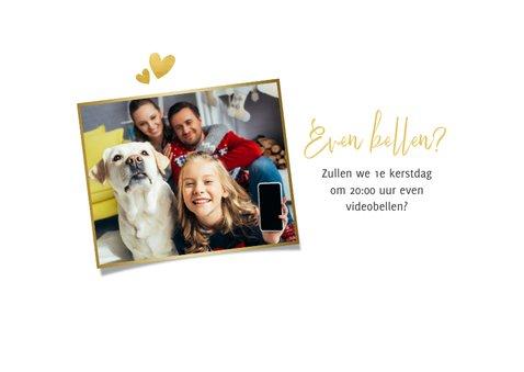 Kerstkaart corona fotokaart liefde hartjes goud missen 2