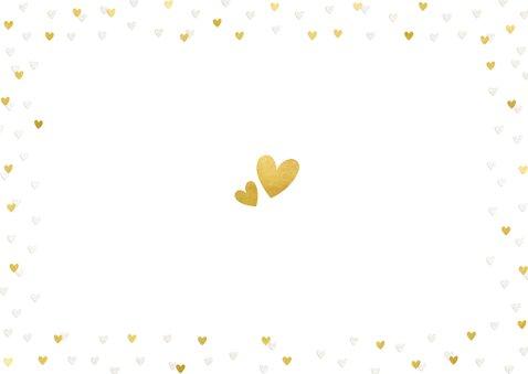 Kerstkaart corona fotokaart liefde hartjes goud missen Achterkant