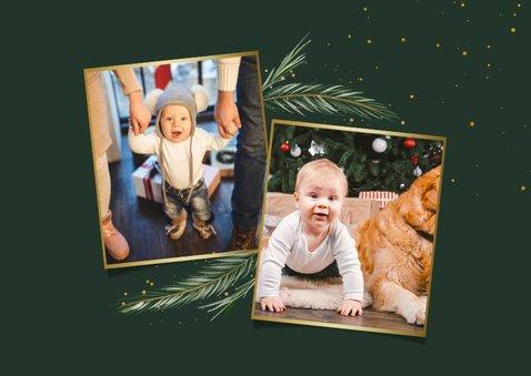 Kerstkaart dennenkader 2 foto's fijne feestdagen 2