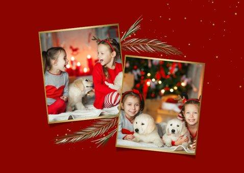 Kerstkaart dennentakjes 2 foto's fijne feestdagen 2