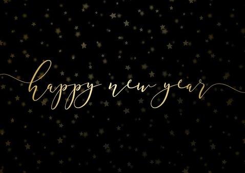 Kerstkaart donker sterren gouden letters en foto's 2