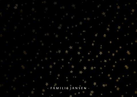 Kerstkaart donker sterren gouden letters en foto's 3
