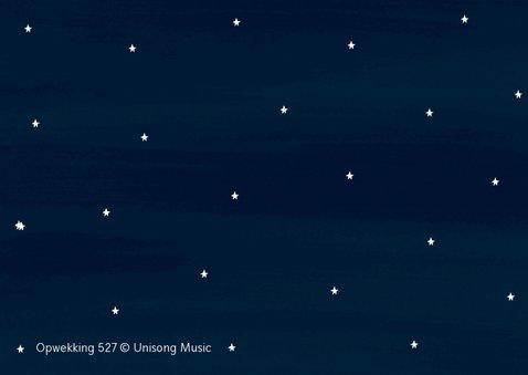 Kerstkaart donkerblauw opwekking Licht in de nacht 2