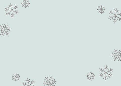 Kerstkaart eigen foto 'Kerstkusjes' blauw Achterkant