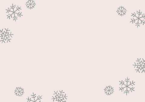 Kerstkaart eigen foto 'Kerstkusjes' roze Achterkant
