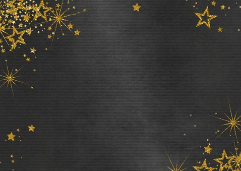 Kerstkaart feestelijk zwart met gouden sterren en 3 foto's Achterkant