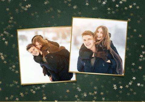 Kerstkaart fijne feestdagen donkergroen met gouden sterren 2