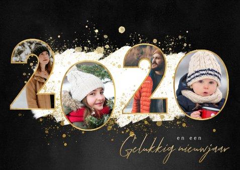 Kerstkaart fijne feestdagen fotocollage 2020 gouden spetters 2