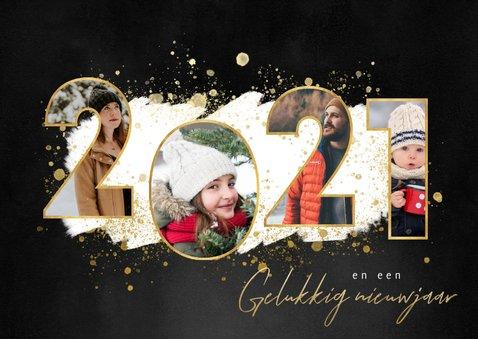 Kerstkaart fijne feestdagen fotocollage 2021 gouden spetters 2