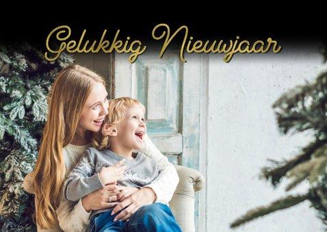 Kerstkaart fijne feestdagen goud en eigen foto 2