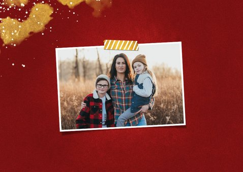 Kerstkaart Fijne Feestdagen rood met goud 2