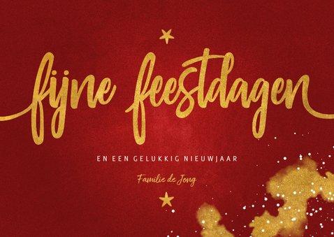 Kerstkaart Fijne Feestdagen rood met goud 3