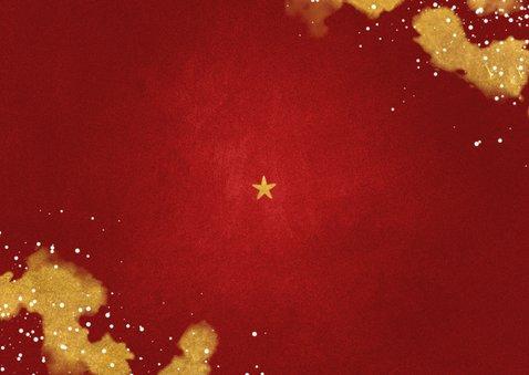 Kerstkaart Fijne Feestdagen rood met goud Achterkant