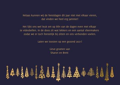 Kerstkaart fijne feestdagen samen op afstand goudlook 3
