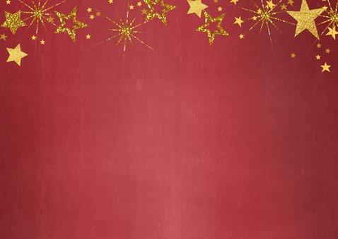 Kerstkaart foto feestelijk rood en gouden sterren 2