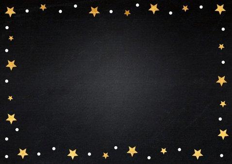 Kerstkaart foto gouden sterren confetti 2