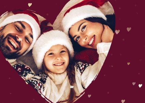 Kerstkaart foto in hart groot met gouden hartjes 2