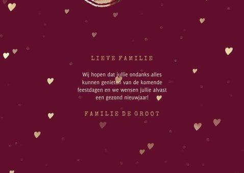 Kerstkaart foto in hart groot met gouden hartjes 3