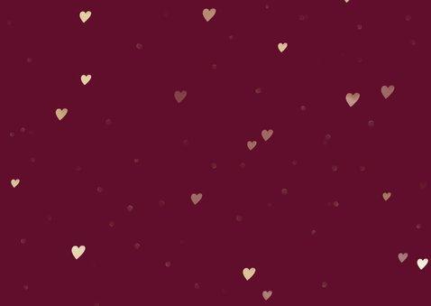 Kerstkaart foto in hart groot met gouden hartjes Achterkant