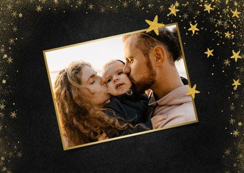 Kerstkaart foto met gouden sterren donker 2