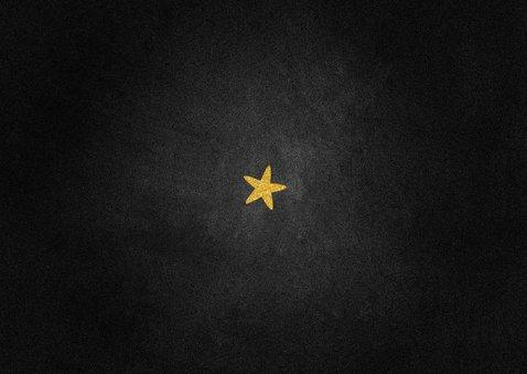 Kerstkaart foto met gouden sterren donker Achterkant