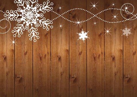 Kerstkaart foto sneeuwvlokken hout - LB 2