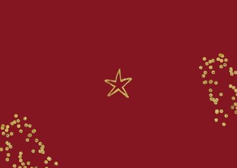 Kerstkaart fotocollage goud ster confetti Achterkant