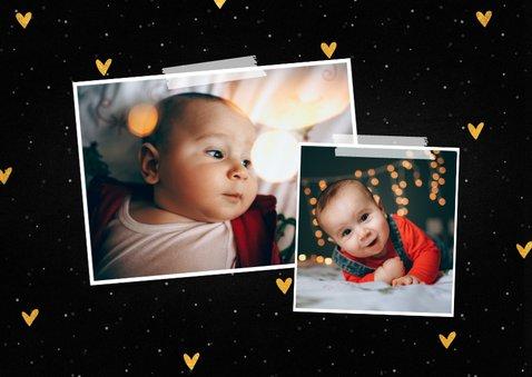 Kerstkaart fotocollage knuffel met sneeuw en gouden hartjes 2