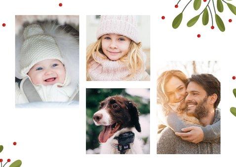 Kerstkaart fotocollage met takjes en besjes 2