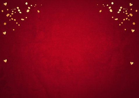 Kerstkaart fotocollage rood confetti goudlook 2