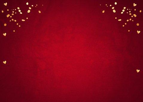 Kerstkaart fotocollage rood confetti goudlook Achterkant