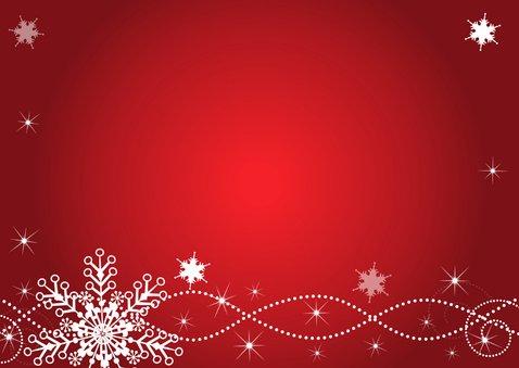 Kerstkaart fotocollage rood sneeuwvlokken rechthoek Achterkant