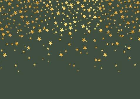 Kerstkaart fotocollage wat en jaar sterren goud 2