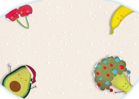 Kerstkaart Fruit & Groente - Stay save, stay healthy Achterkant