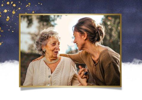 Kerstkaart gouden hart met papieren knuffel en eigen foto 2