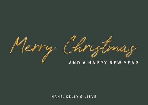 Kerstkaart gouden 'Merry Christmas' met grote foto 3