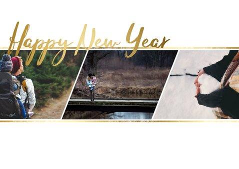 Kerstkaart gouden tekst fotocollage 3 foto's 2