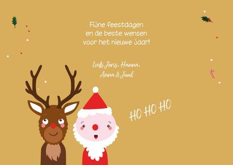 Kerstkaart grappig rendier en kerstman 3