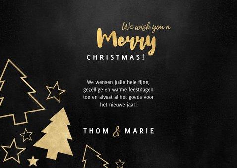 Kerstkaart grote foto, gouden kerstbomen en sterren 3