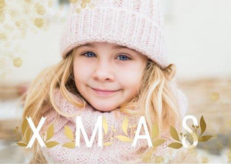 Kerstkaart grote foto XMAS goudlook met confetti  2