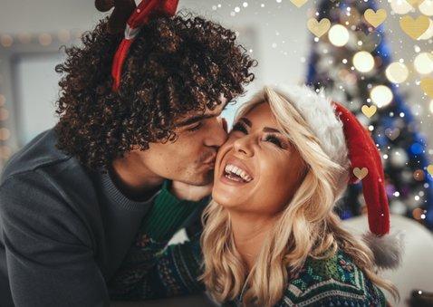 Kerstkaart hartjeskader liggend grote foto Merry Christmas 2
