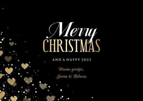 Kerstkaart hartjeskader liggend grote foto Merry Christmas 3