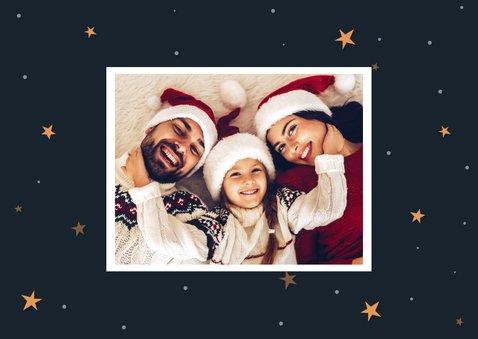 Kerstkaart hip met foto en ster met woorden 2