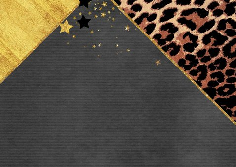 Kerstkaart hip met panterprint en goudkleurige sterren 2021 2