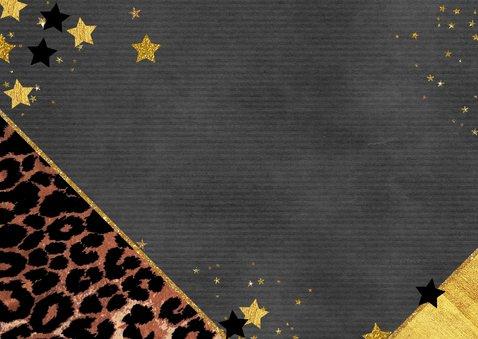 Kerstkaart hip met panterprint en goudkleurige sterren 2021 Achterkant