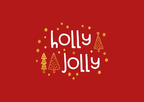 Kerstkaart 'holly jolly' goudlook met foto's 2