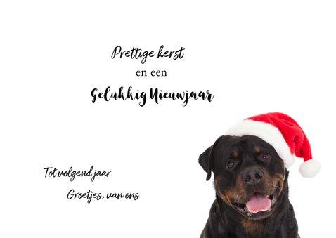 Kerstkaart hond Rottweiler met kerstmuts van de kerstman 3